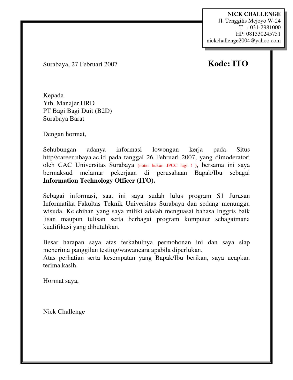 Contoh Surat Lamaran Kerja PDF - ben jobs