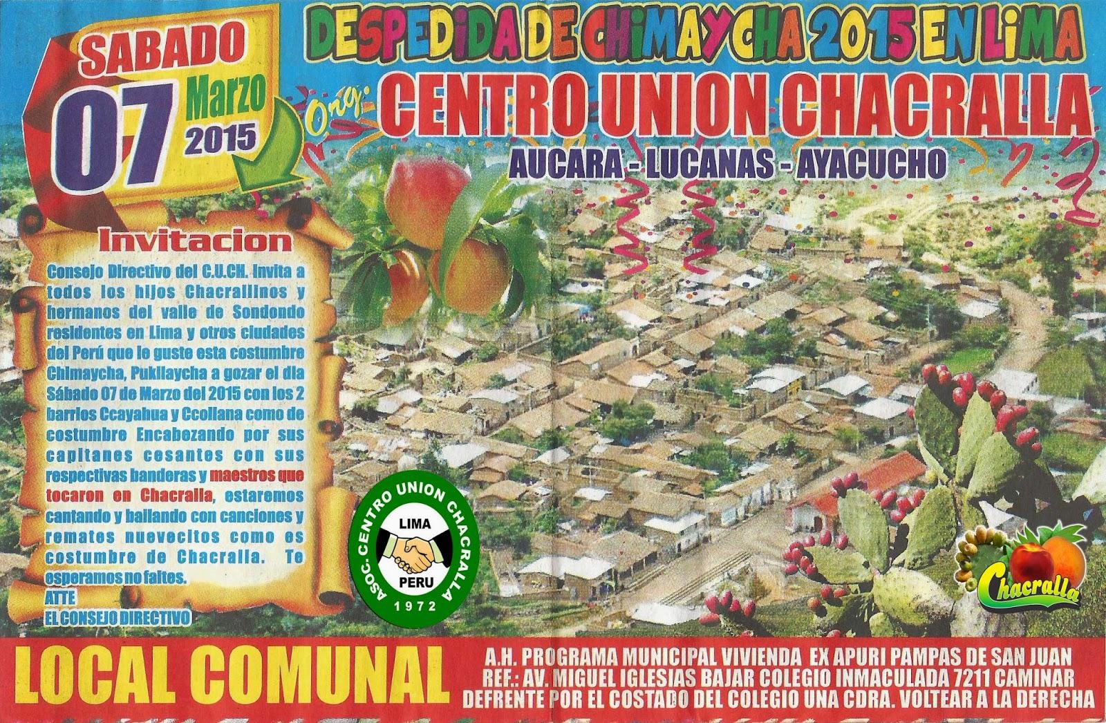 DESPEDIDA DE CHIMAYCHA PUKLLAYCHA 2015 EN LIMA