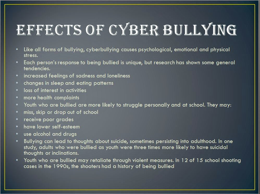 effects of cyber bullying criminology essay Keywords: cyber bullying, cybercrime, bullying cyberbullying: what happened to the golden rule doing poorly in school is another effect of being cyber bullied because there is a huge lack in motivation which causes bad grades, and attendance problems.