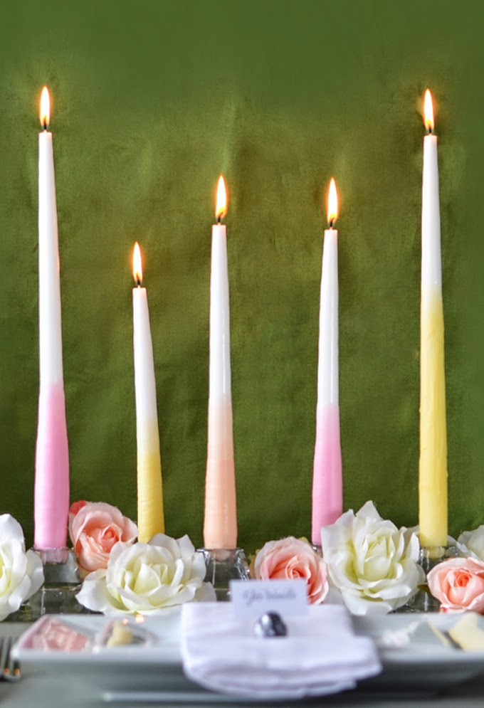DIY Ombre Dipped Taper Candle Centerpieces
