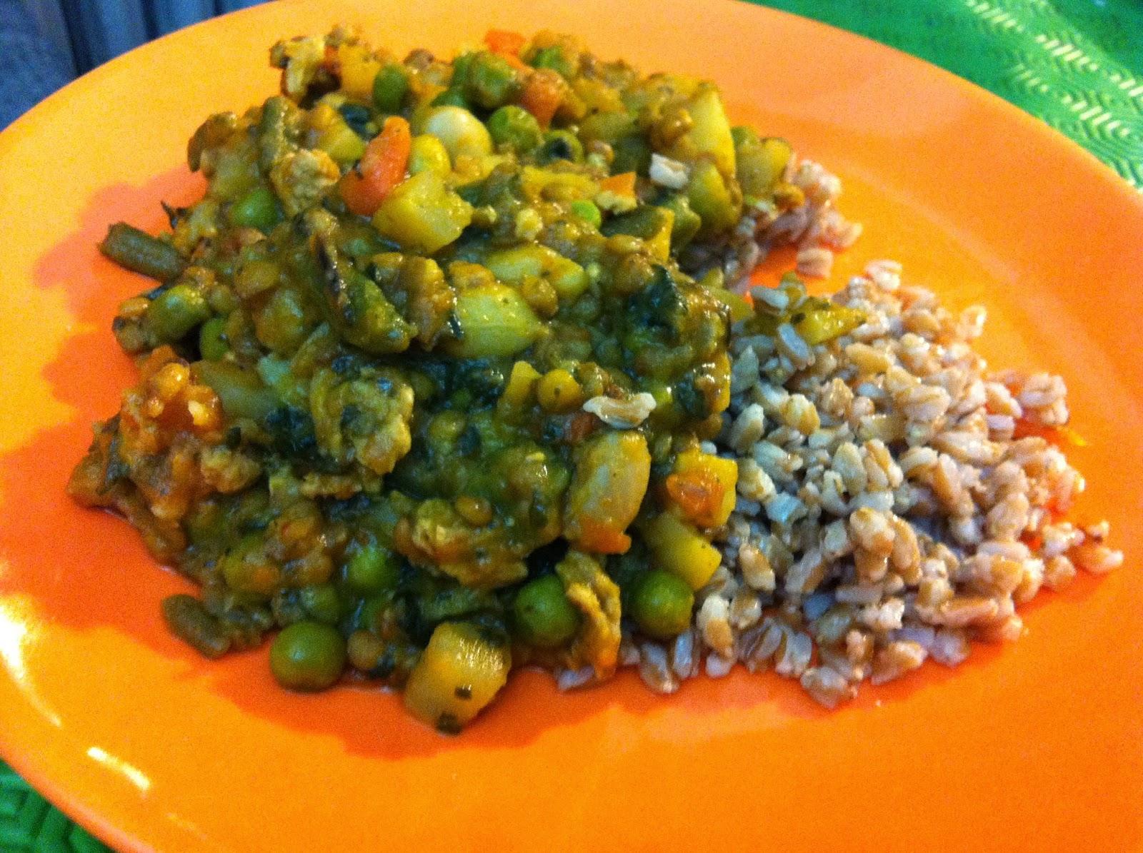 il mio salva-cena: farro allo zenzero con curry di verdure