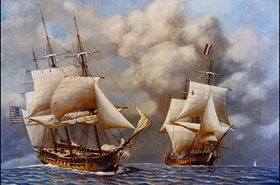 USS Constellation fighting French ship Insurgent in 1799 Painting by Rear Admiral John W. Schmidt