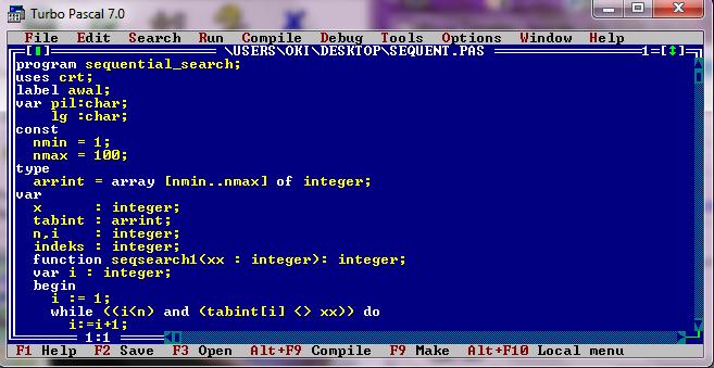 Program Sequential Search Bahasa Pascal D A Y A K O M P U T E R Ku