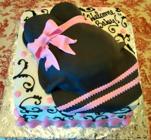 black pink belly bump cake