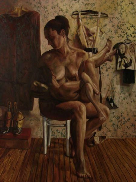 Ludwig Drahosch pinturas nudez surreal corpos unidos multiplos dominação fetiche sexo