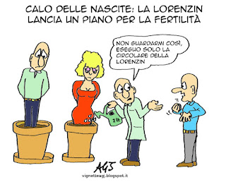fertilità, demografia. Lorenzin, satira, vignetta