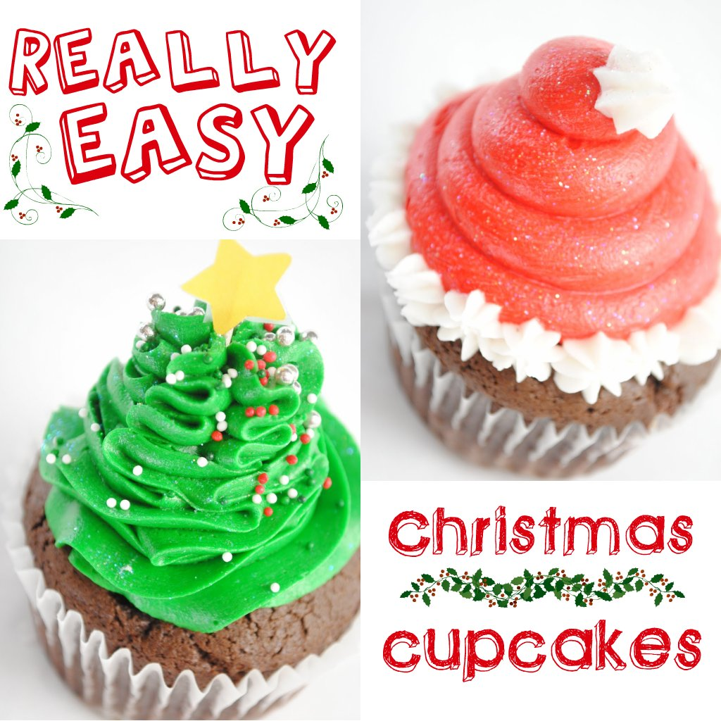 Christmas Decorations Cupcakes Easy : Easy christmas cupcakes santa hats and trees