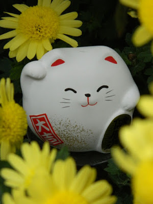 Beckoning cat Maneki-neko at the  Allan Gardens Conservatory 2015 Chrysanthemum Show by garden muses-not another Toronto gardening blog