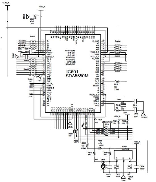 Hình 7 - CPU và các mạch cấp nguồn, mạch Reset và thạch anh dao động.
