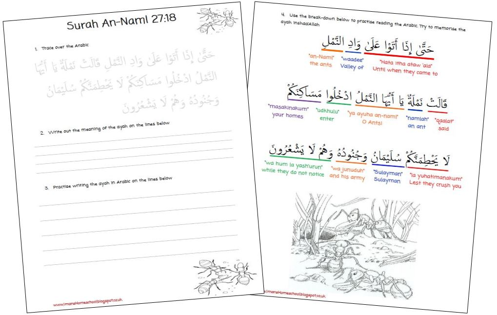 Imans Home School Surah An Naml The Ants Worksheet