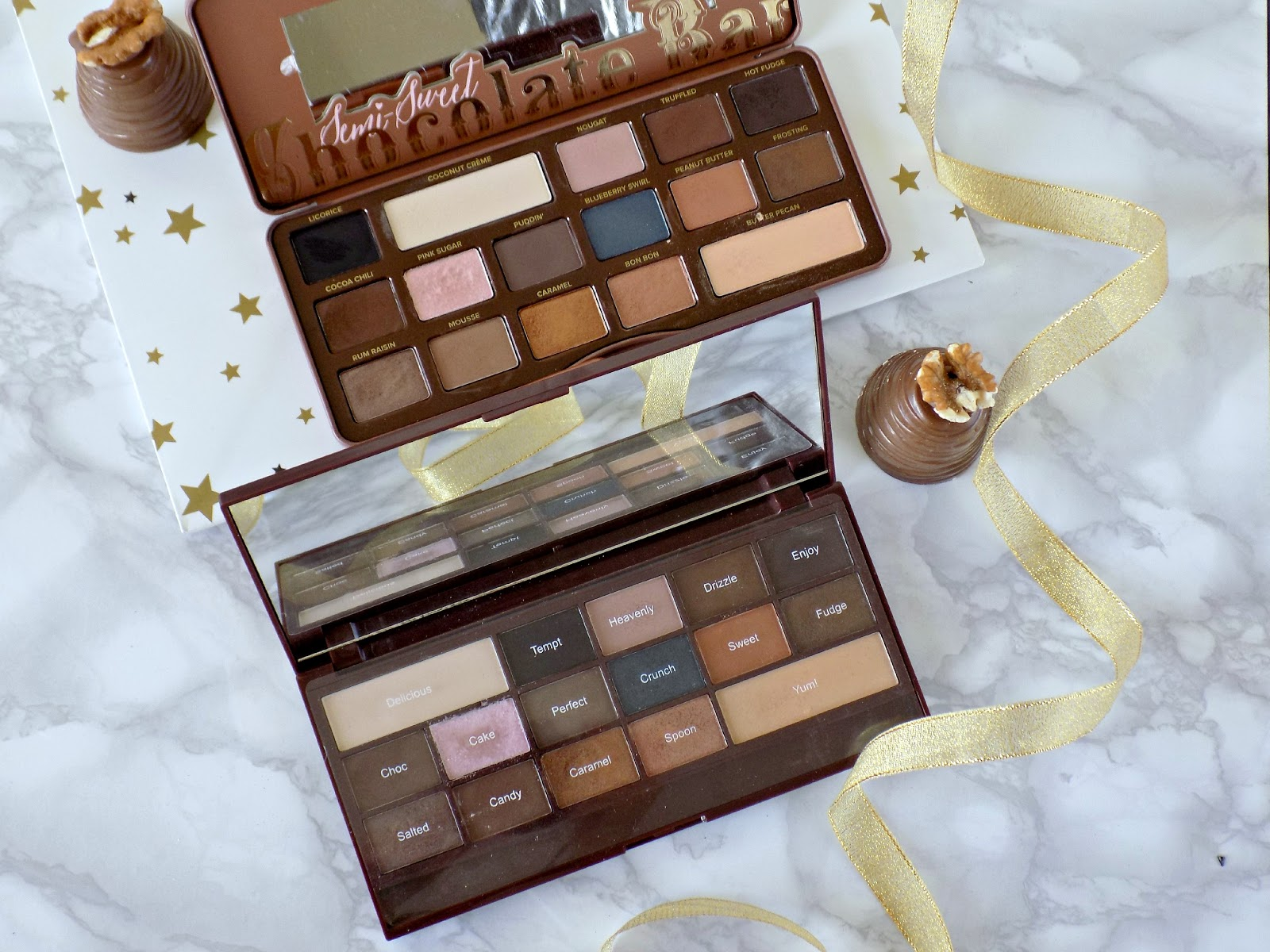 Too Faced Semi Sweet Chocolate Bar vs Makeup Revolution Salted Cramel