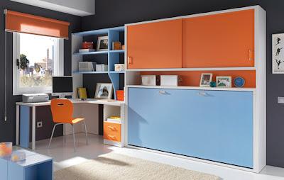 dormitorio naranja y celeste