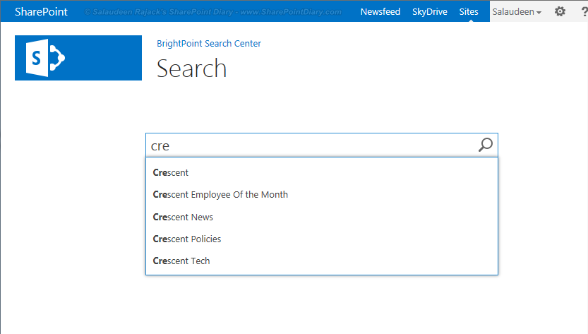 sharepoint search box query suggestions
