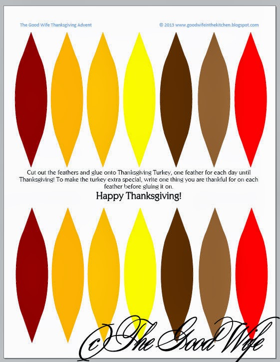 image about Turkey Feathers Printable titled The Very good Spouse: Turkey Tom Thanksgiving Introduction Calendar Craft