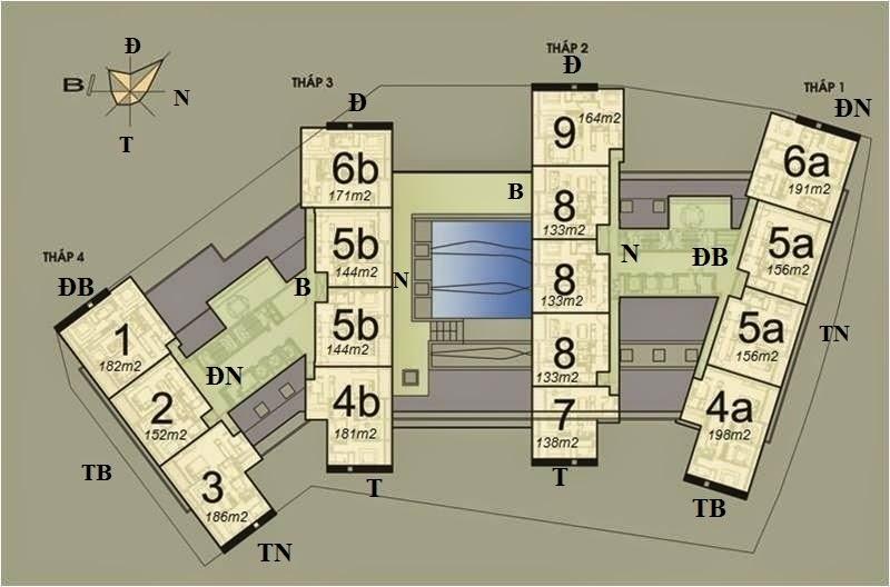 Vị trí căn hộ CH5B - 144m2 trên mặt bằng căn hộ Dolphin Plaza