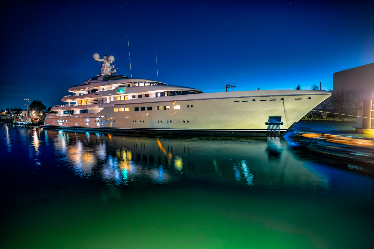 Megayacht KIBO at Night