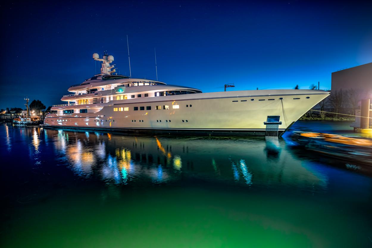 Megayacht KIBO at Night