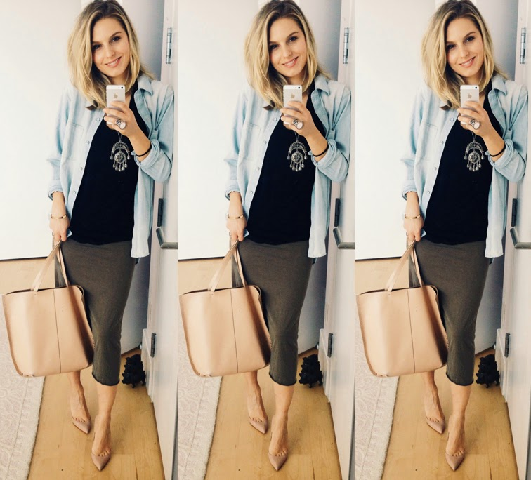 Louboutin Pigalle pumps Zara tote bag Madewell Chambray shirt Saint Laurent arty ring