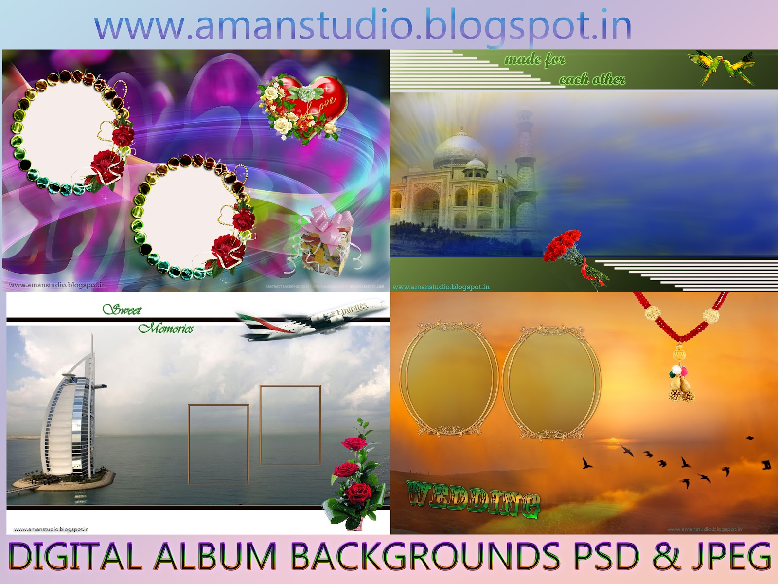 Digital Album Backgrounds psd & jpeg