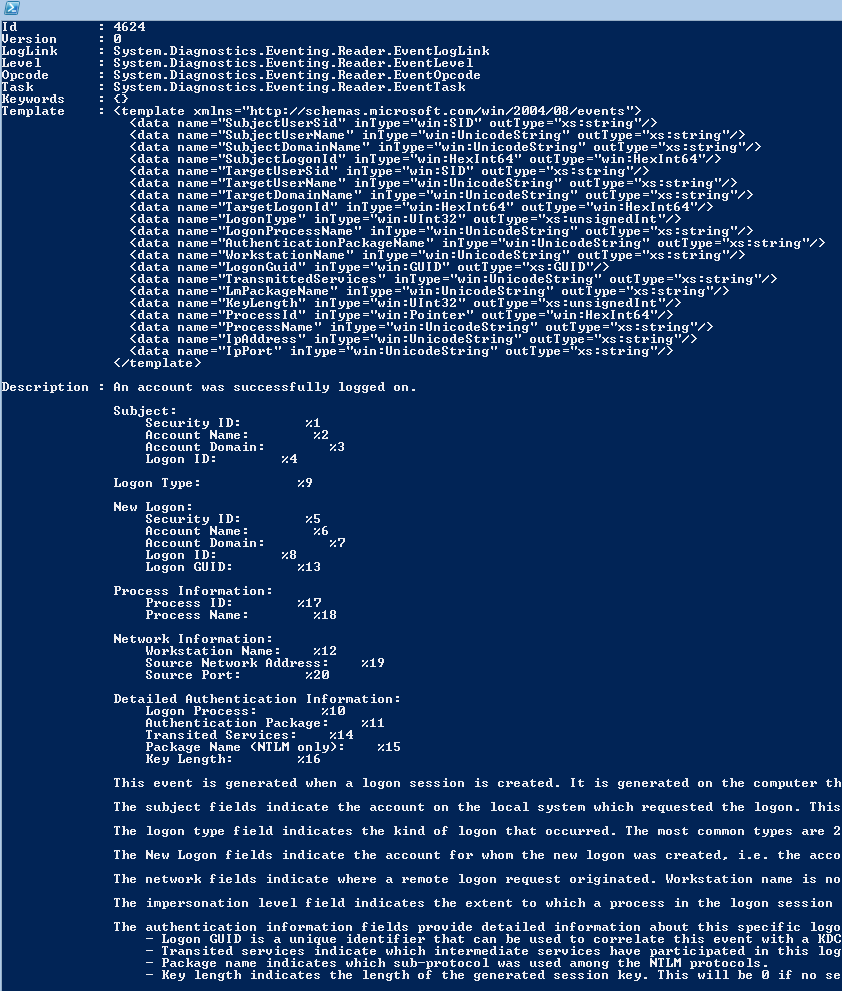 Dump the schema for windows security events for Window load event