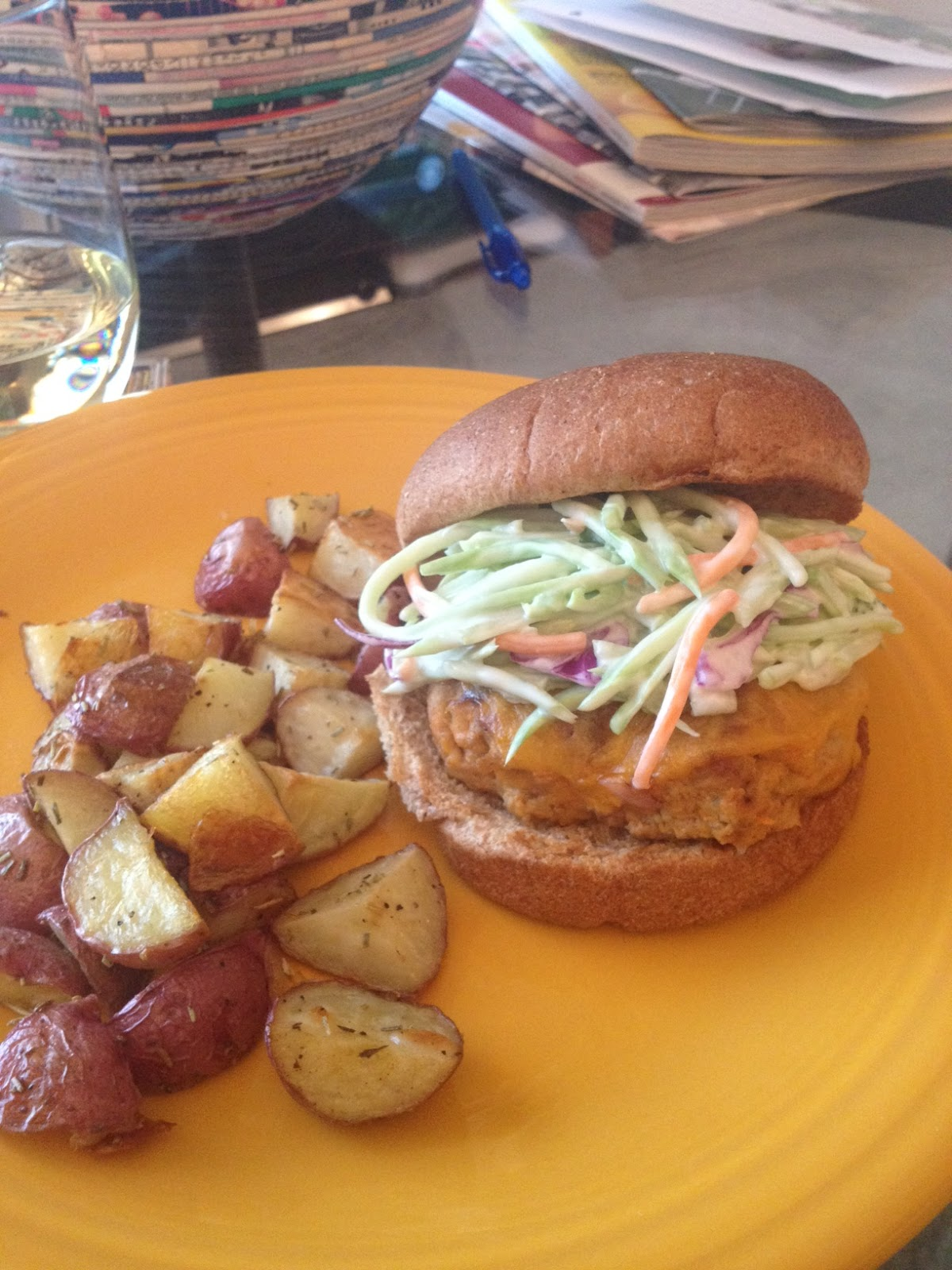 EAT ME: Buffalo Turkey Burgers with Blue Cheese Slaw