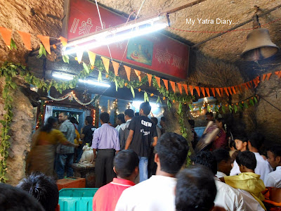 Jogeshwar Mahadeo Temple at Jogeshwari Shiva caves in Mumbai during Shravan