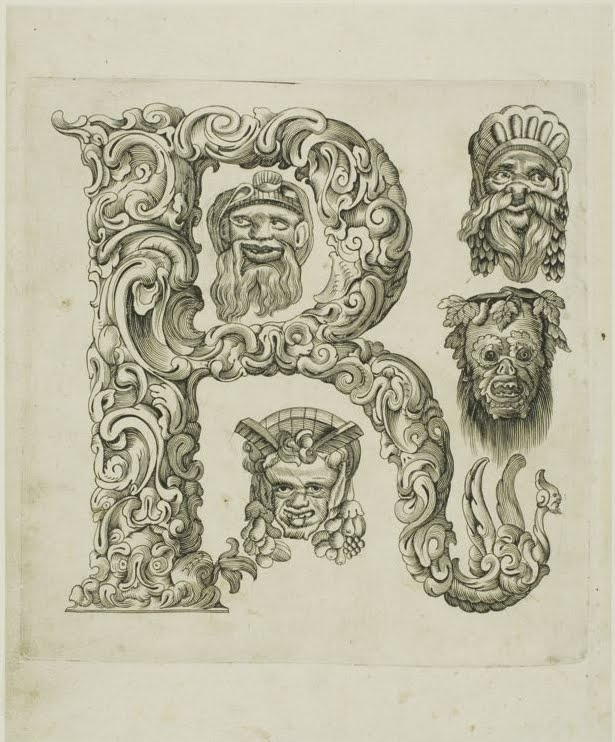 engraved letter 'r' - 17th cent.