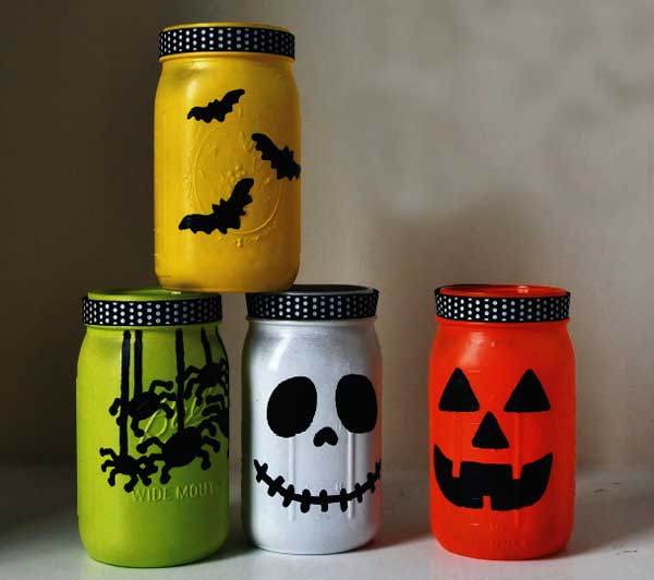 halloween glass jar lanterns