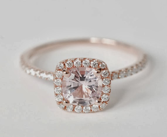 Amazing and Beautiful Peach Pink Cushion Sapphire Diamond Engagement Ring Amazing and Beautiful Peach Pink Cushion Sapphire Diamond Engagement Ring