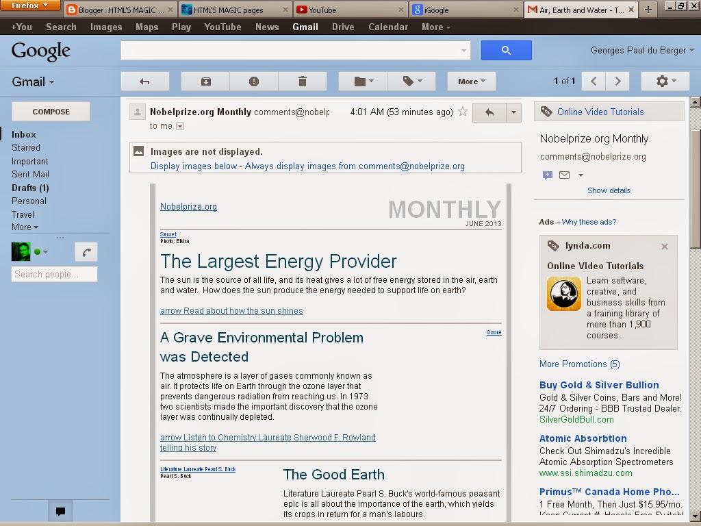 A screenshot of my Gmail