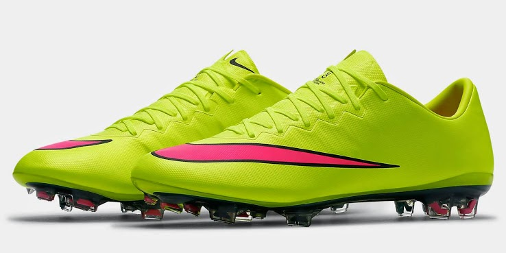 The new Volt / Hyper Pink Nike Mercurial Vapor 10 Boot will be available  from early February 2015.