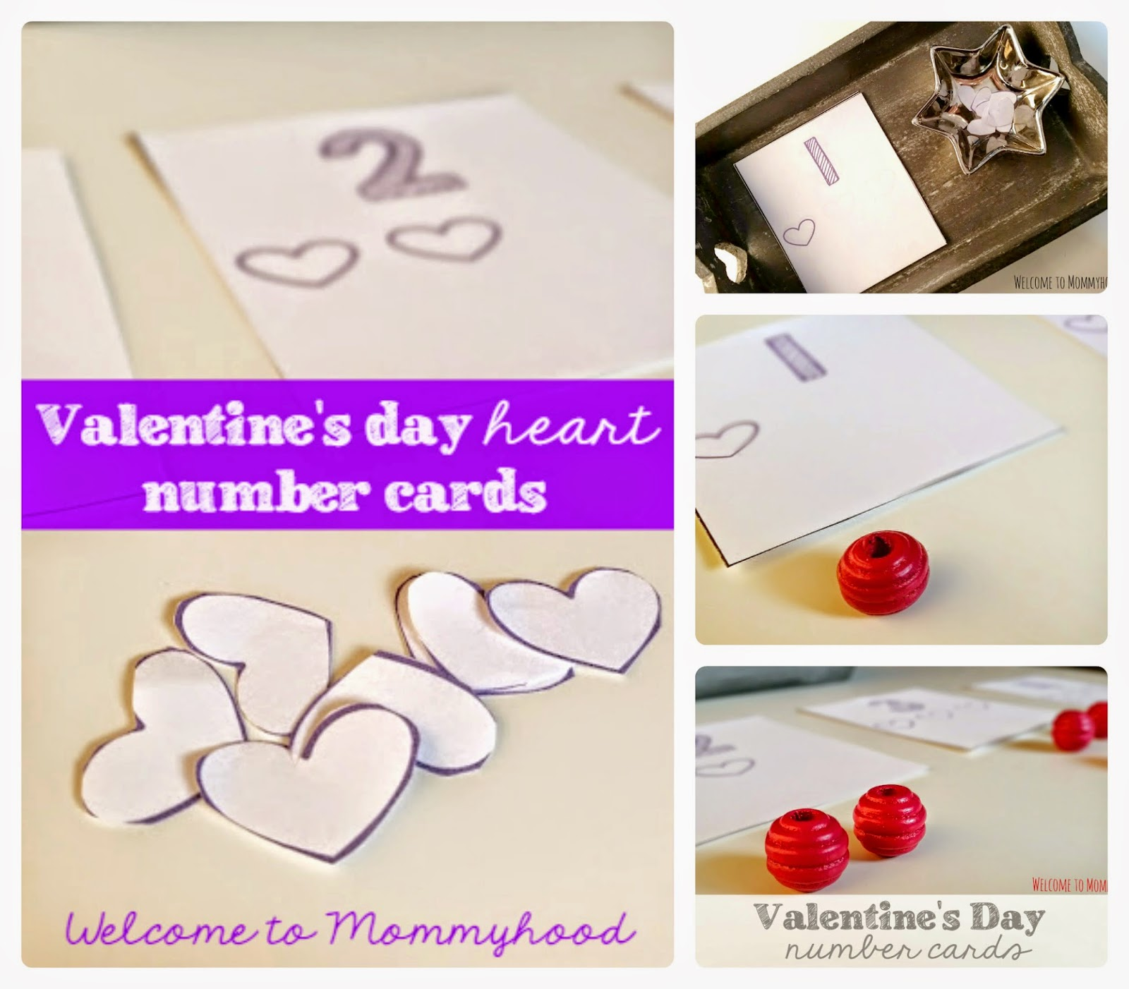 Valentine's Day Activities: Free number cards printables {Welcome to Mommyhood} #montessori, #freeprintables, #finemotoractivities, #valentine'sdayactivities