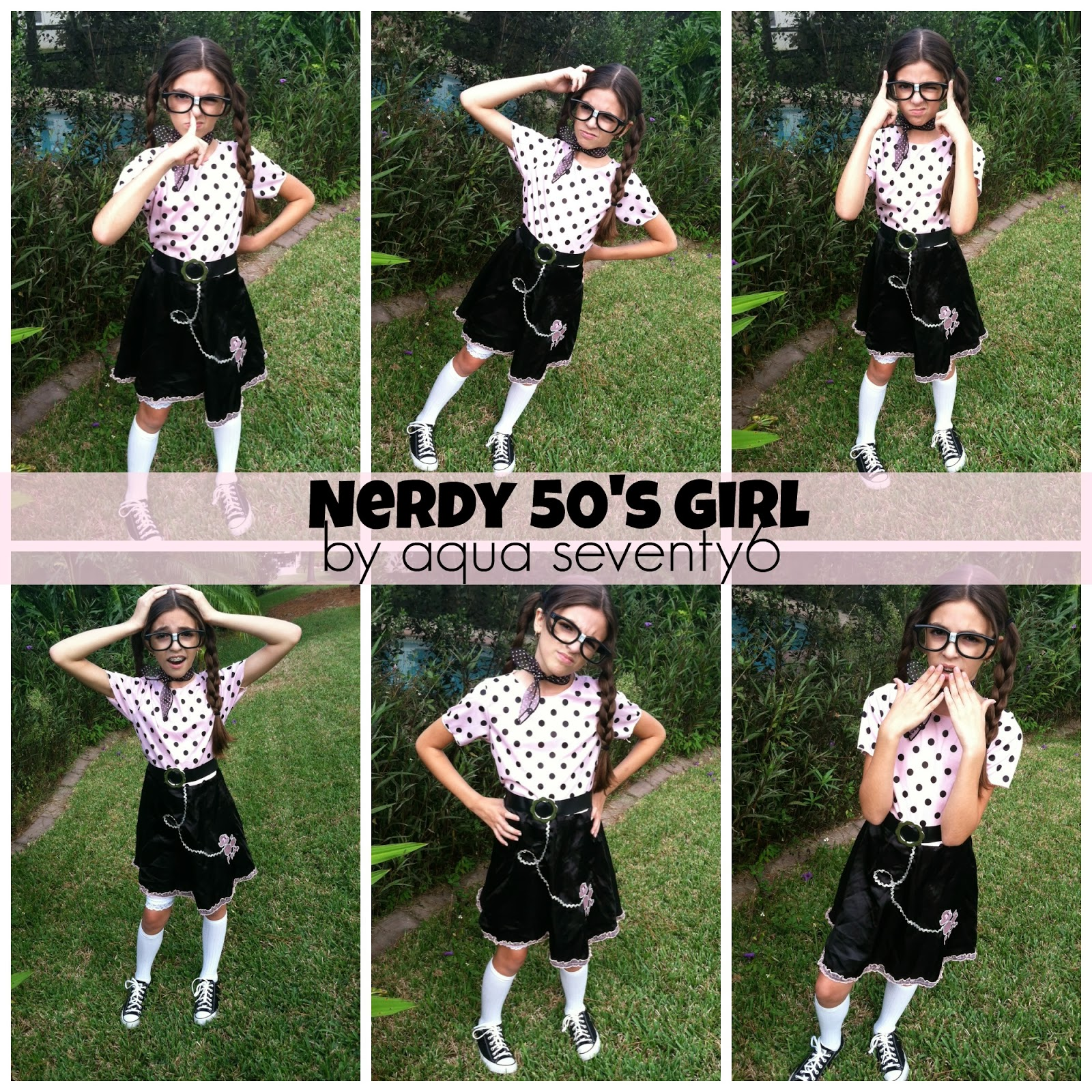 nerdy 50s girl putting a twist on a store bought halloween costume