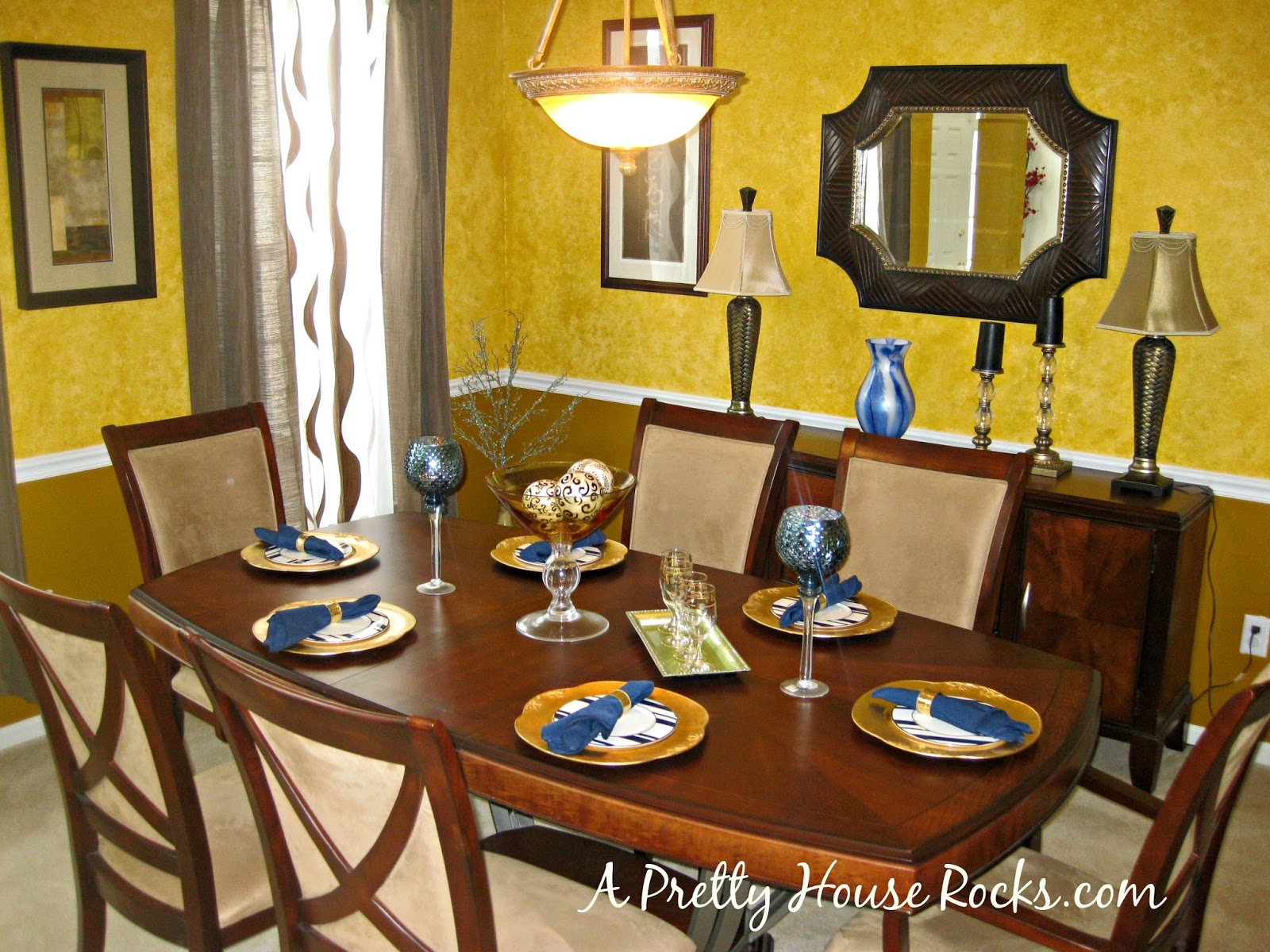 Brown, Blue and Gold Dining Room Decor - A Pretty House Rocks - Home ...