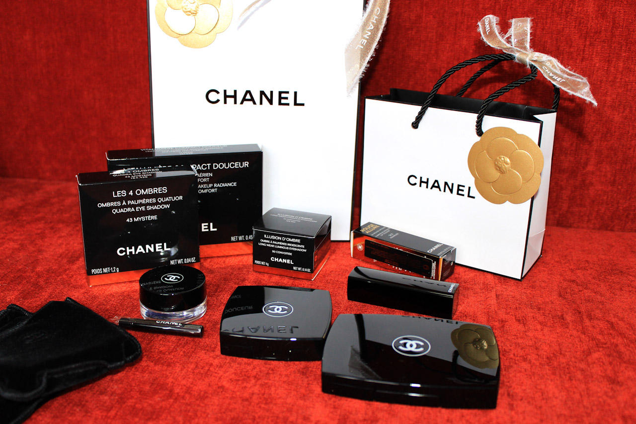 chanel, chanel powder, chanel lipstick, chanel eyeshadow, shopping, chanel haul