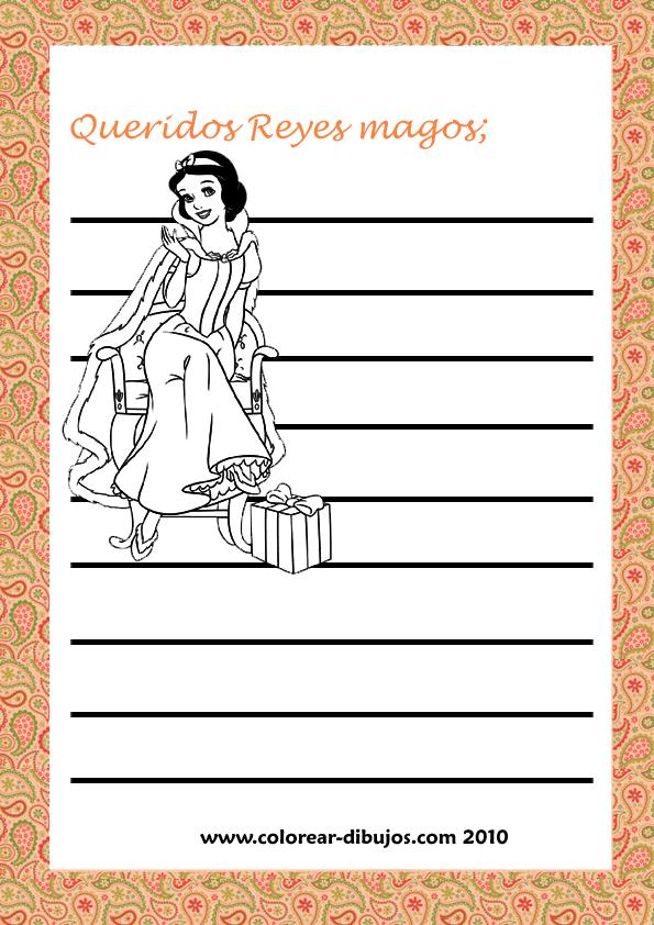 Carta a los reyes magos de disney para imprimir