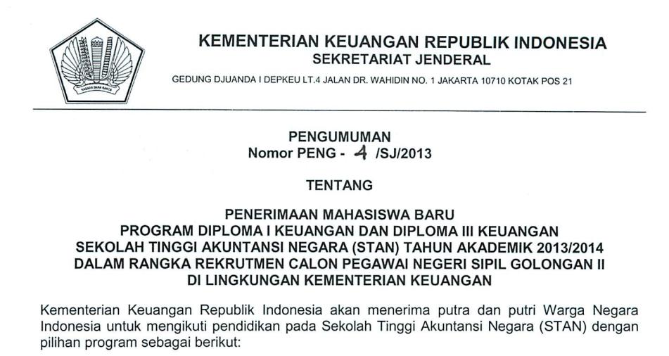 Pendaftaran Ujian Saringan Masuk Stan 2013 2014 Blog Keuangan