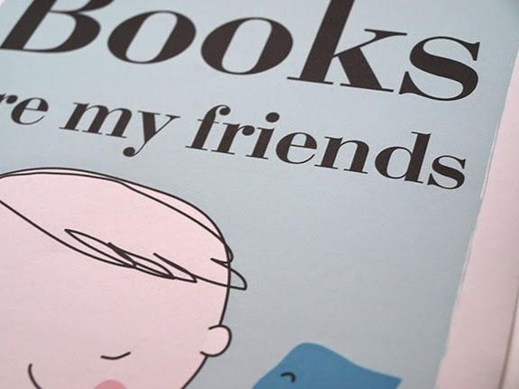 Lámina para niños: Books are my friends (los libros son mis amigos)