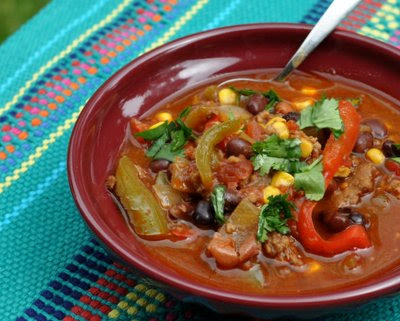 Easy Turkey Chili, extra-easy with frozen vegetables and canned beans. | Weight Watchers PointsPlus 4 | KitchenParade.com