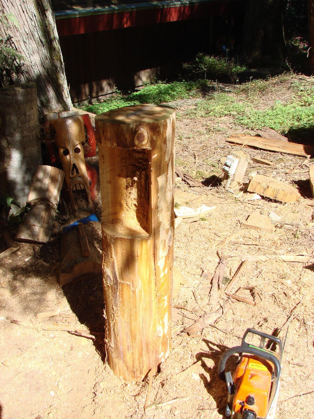 Also hollowed out the back of this cedar log.
