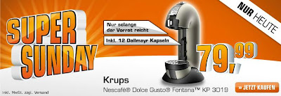 Krups Nescafé Dolce Gusto Fontana KP 3019 im Saturn Super Sunday für 79,99 Euro