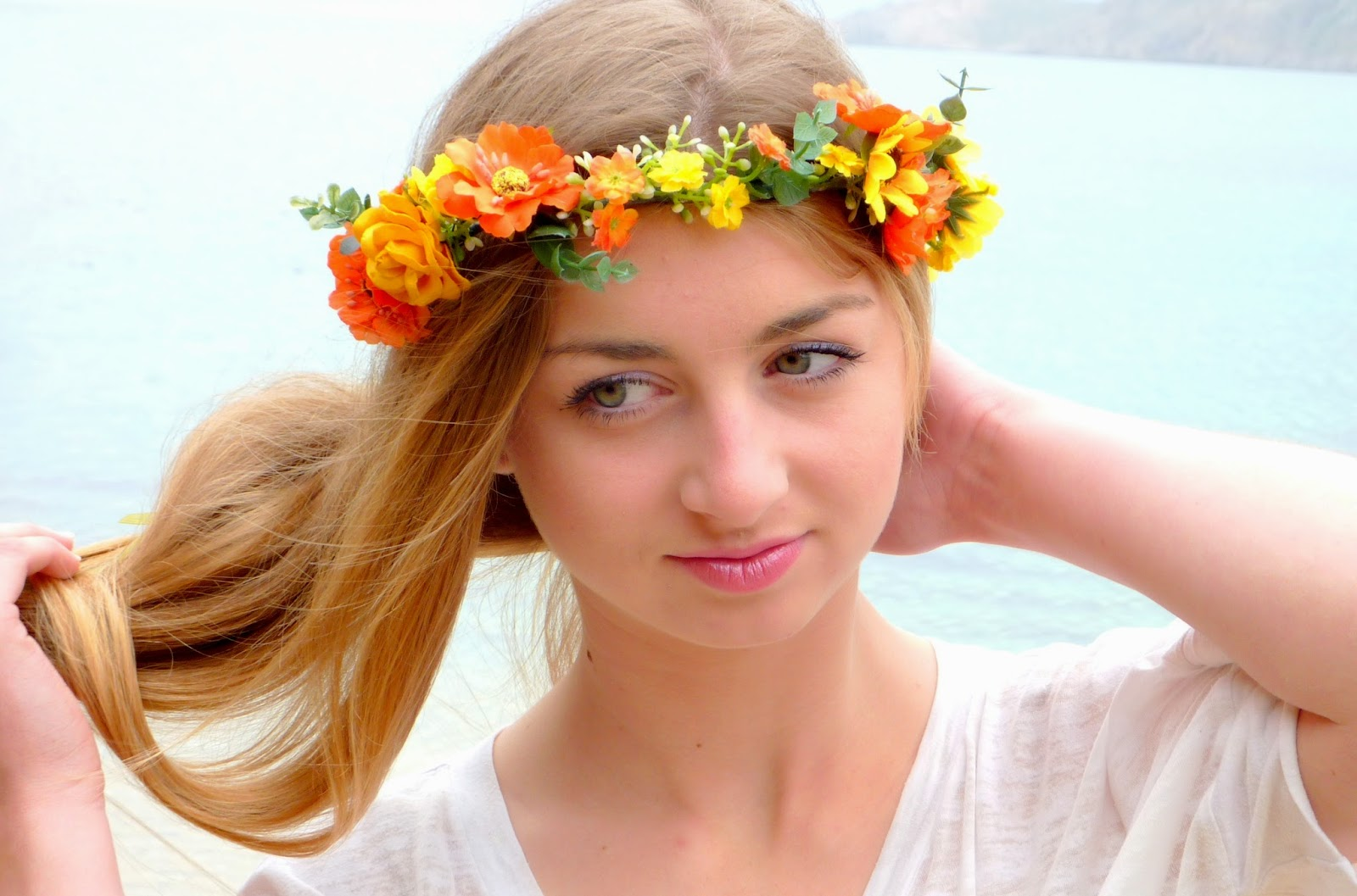 Orange yellow flower crown woodland halo floral crown bohemian orange yellow flower crown woodland halo floral crown bohemian headpiece boho flower girls flower crown wedding hair piece izmirmasajfo