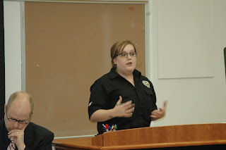 Franks recently share her experience with new security studies students.