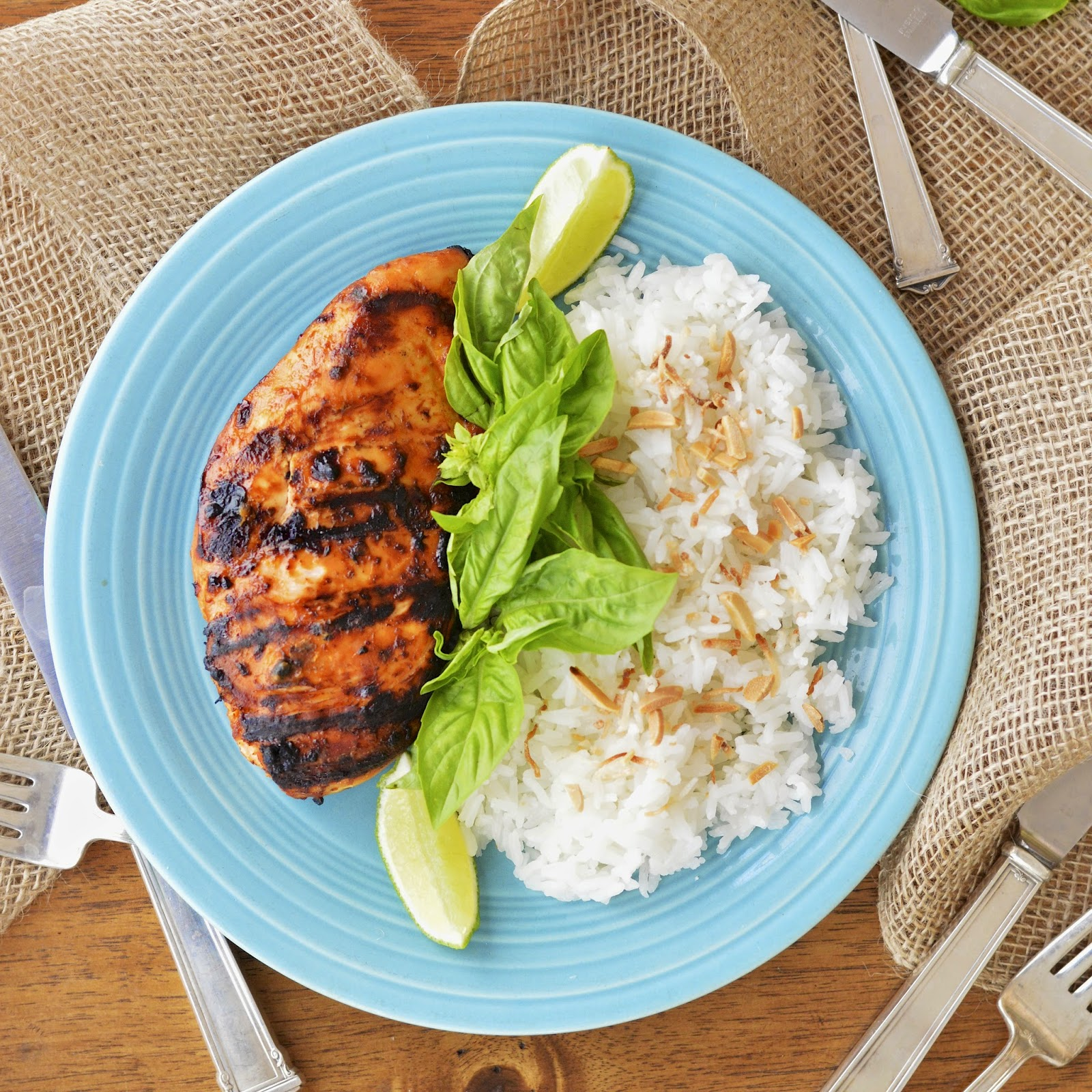 Grilled Thai Chicken served with Coconut Jasmine Rice is an easy, healthy and exotic dinner for four #glutenfree