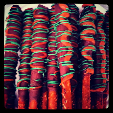 CHOCOLATE DIPPED PRETZELS DRIZZLED IN CARAMEL