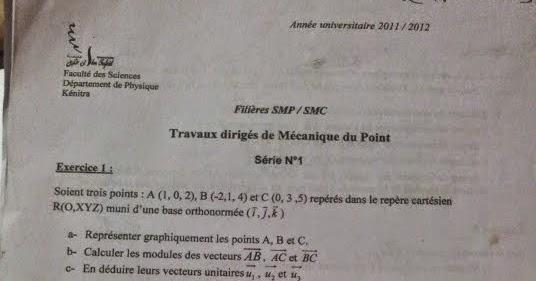 Td Mecanique Du Point Serie N U00b03 Avec Corrig U00e9 Smpc S1 Fsk