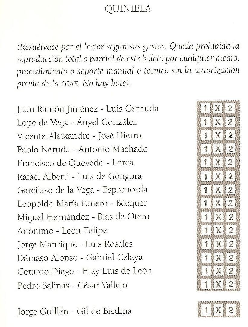 QUINIELA de Raúl Vacas