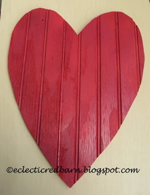 Eclectic Red Barn: Painted bead board heart