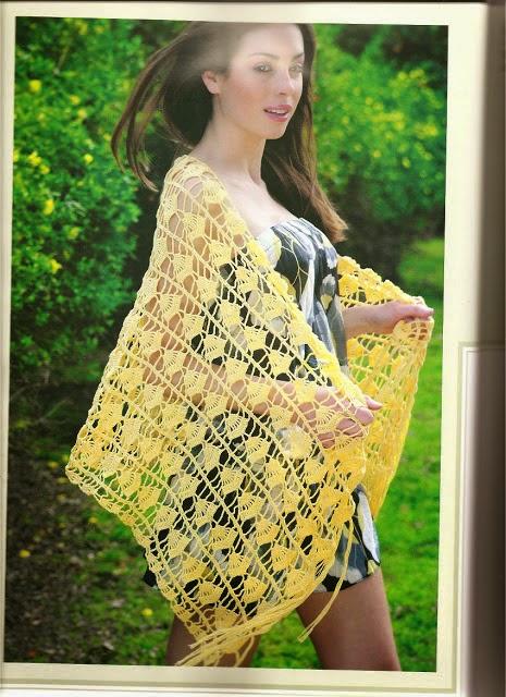 Un chal muy calado tejido al crochet - con diagramas y explicación