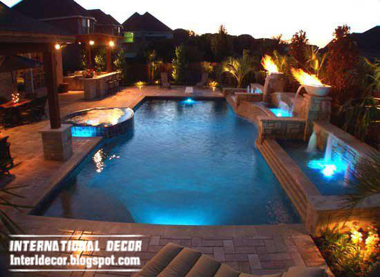outdoor swimming pool including childrens wadding and waterfall - Outdoor Swimming Pool Designs